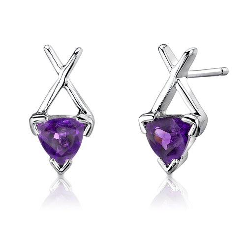 CZ Amethyst Trillion Stud Earrings .925 Sterling Silver Rhodium Finish