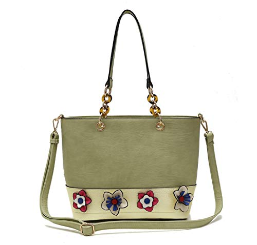 Multi Color Flowers Accented Tote Bag With Long Handle And Strap (PALE GREEN)
