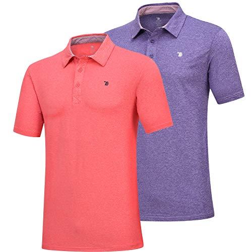 - MoFiz Men's Short Sleeve Polo Shirt Dri-Fit Performance Golf Polo T Shirt 2 Pack (M,Orange/Purple)