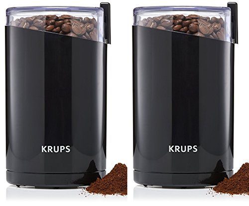 KRUPS F203 Electric Spice and Coffee RKfDXa Grinder with Stainless Steel Blades, 3-Ounce, Black, Blade Grinder (Pack of 2)
