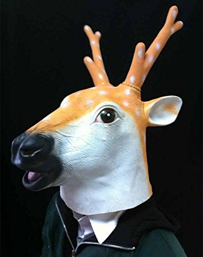[Gmasking 2014 Deluxe Latex Sika Deer Head Mask] (Deer Deluxe Latex Mask)