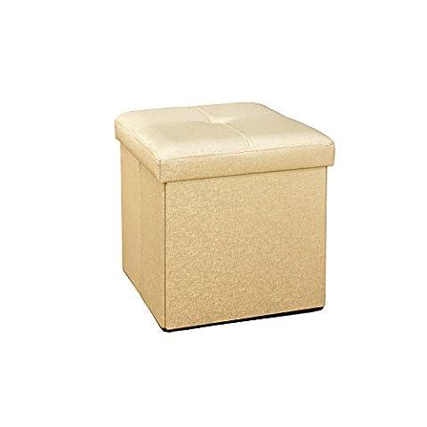 Simplify Faux Leather Folding Storage Ottoman Cube in Metallic Gold