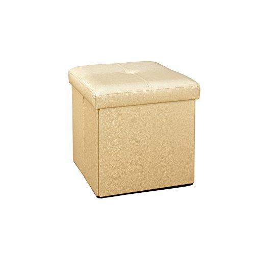 Simplify Faux Leather Folding Storage Ottoman Cube in Metallic Gold - Metro Square Storage Ottoman