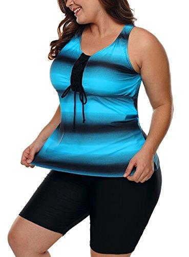 Nicetage Women's Color Block Racerback Tankini Top with Swim Bottoms Swimsuit S-XXXL 410663(Blue, XXL) by Nicetage (Image #2)