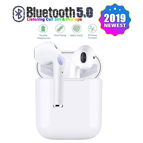 BluetoothWireless Earbuds Bluetooth 5.0 Earphone Hi-Fi Sound Bluetooth Headset with Mini Charging Case 24 Hrs Extended Playtime Pop-Up Pairing for iPhone11/Samsung/Apple/Airpods Sports Headphones