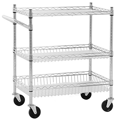 Heavy Duty Utility Cart Wire 3 Tier Rolling Cart Organizer NSF Kitchen Cart on Wheels Metal Serving Cart Commercial Grade with Wire Shelving Liners and Handle Bar for Kitchen Office Hardware,Chrome ()