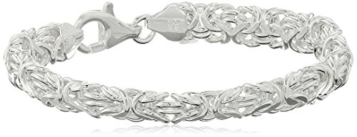 Sterling Silver Byzantine Link Bracelet, 7.5'' by Amazon Collection