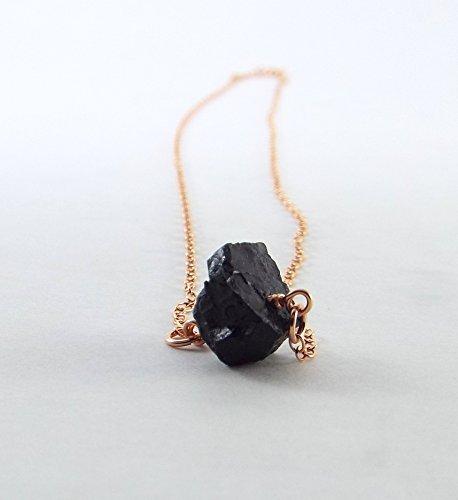 Captive Stone Black Tourmaline Necklace (Rose Gold) (Jewelry Gold Tourmaline Black And)