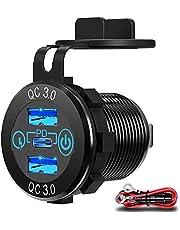 12V USB-Uitgang, Qidoe Dual QC 3.0 18W & PD 30W USB C 12 Volt-Aansluiting Aluminium Autolader Met Aanraakschakelaar, Waterdichte PD-Snellaadadapter Voor Autoboot Marine RV Golfkar Motorfiets