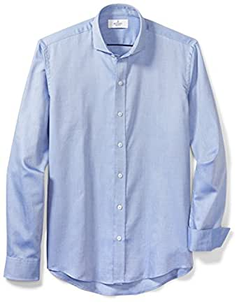 Buttoned Down Men's Slim Fit Supima Cotton Cutaway-Collar Dress Casual Shirt, Blue Washed Oxford, S 32/33 ()