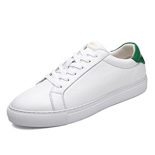 Dekesen Scarpe Da Skateboard Unisex White Fashion Sneaker In Vera Pelle Bianco / Verde 1