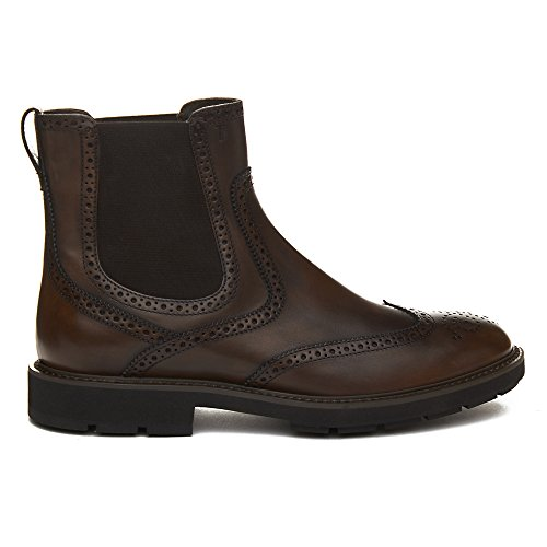 Tods Heren Leren Brogue Chelsea Boots Bruin