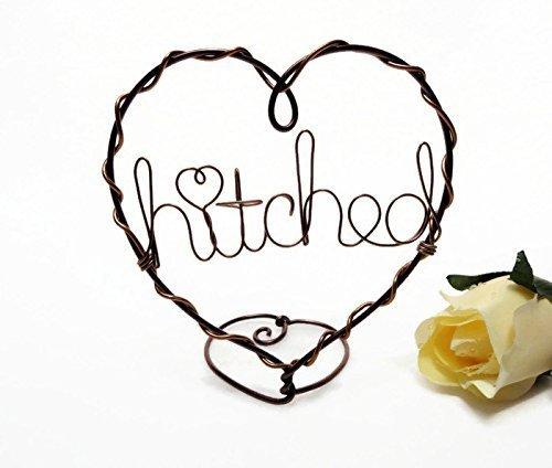 Hitched Wire Heart Wedding Cake Topper