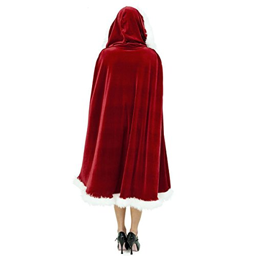 CA Mode Women Christmas Mrs Santa Claus Cloak Xmas Costume Cappa Cloak Cape