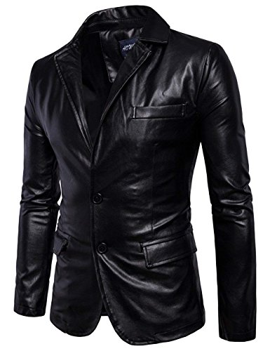 Minghe Mens Fashion PU Leather Blazer Jacket Tailored Collar Two Button Jacket Black US 40