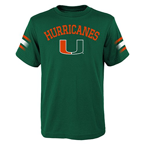 """NCAA by Outerstuff NCAA Miami Hurricanes Youth Boys """"First Line"""" Dri-Tek Short Sleeve Tee, Hunter Green, Youth X-Large(18)"""