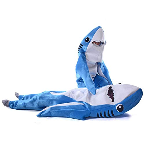 Luxfan Fleece Kids Shark Onesie Halloween Costume Cosplay Funny Outfit Jumpsuit