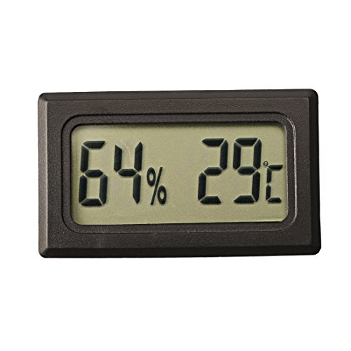 Price comparison product image Ray-JrMALL Mini Digital Temperature Humidity Meter Gauge Thermometer Hygrometer LCD Degree Celsius(C) Display Black