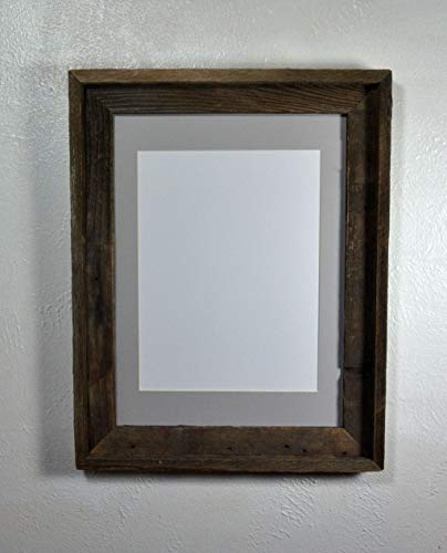 Picture Frame With 9x12 Gray Mat Reclaimed Wood Rustic Style Complete With Glass