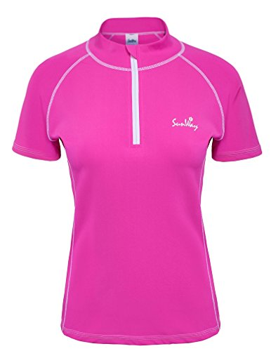 SunWay Women's Pink Rash Guard Swim Shirt UV Sun Protectionn UPF 50+ (XXL)