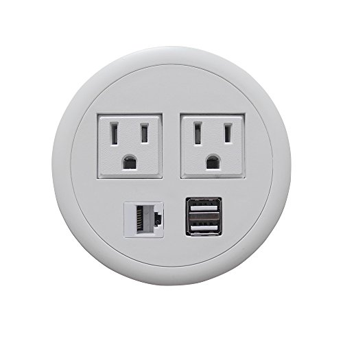 Power Date Hub Tap Grommet with Power Outlet USB Chargers for Desktop White