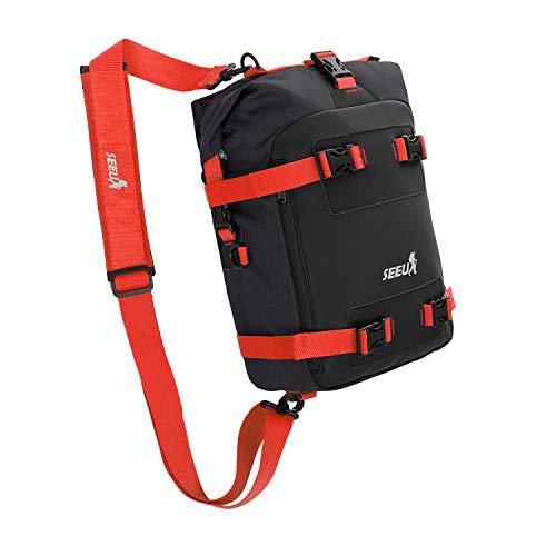 Waterpoof Motorcycle Tail Bag, SEEU Universal Motorcycle Seat Bag Motorcycle Storage Bag With Helmet Net, Red, 20 Liters