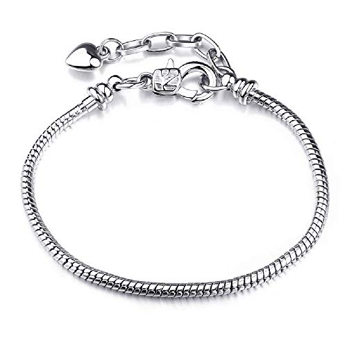 Huntty Authentic Silver Color Snake Chain Fine Bracelet Fit European Charm Bracelet for Women DIY Jewelry Making,R07-17cm