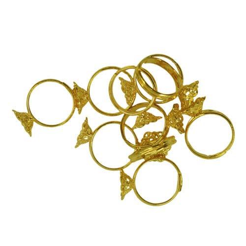 FidgetKute Adjustable Ring Blank Open Ring Base 12x5mm Filigree Flower Blank Bezel,10x ()