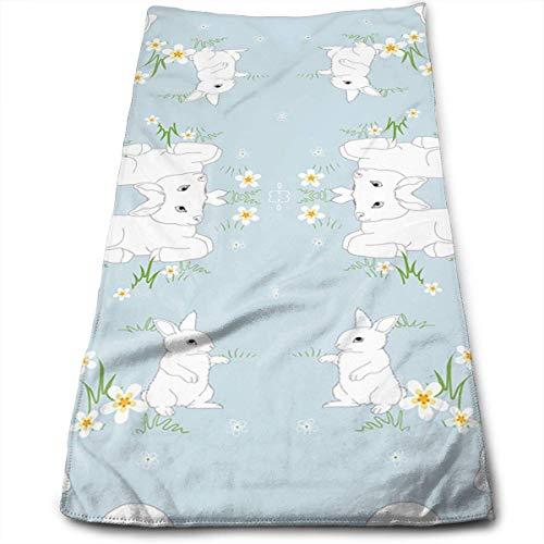 Pejer Polyester Kitchen Towels Dishcloth, Spring Lambs Bunnys - Blue Microfiber Beach Towel Large- 11.8