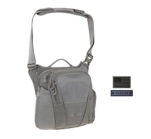 Maxpedition VELDSPAR Crossbody Shoulder Bag (GRAY) + FREE Warrior & Flag Patch