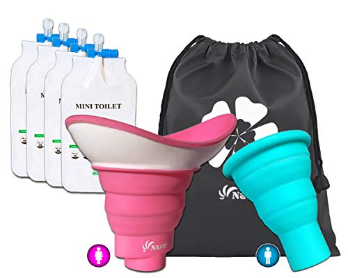 NAXER Urinal for Women Female Urination Device with Male Urinal and Travel Disposable Urinal Bags Portable Wee Set, Collapsible Luggable Loo Pee Funnel for Women n Men Camping Hiking Kayak Car Outdoor