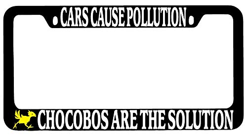 GSF Frames Cars Cause Pollution Chocobos are The Solution Black Metal License Plate Frame Final Fantasy (Frame Fantasy License)