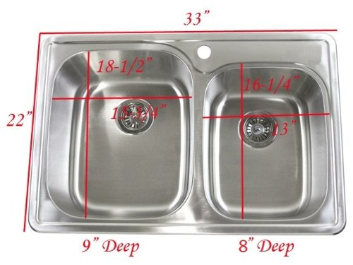 60 40 Kitchen Sink 33 inch top mount drop in stainless steel 6040 double bowl 33 inch top mount drop in stainless steel 6040 double bowl kitchen sink 18 gauge workwithnaturefo