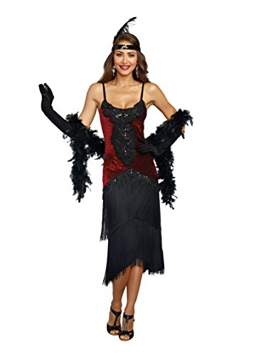 1920 Party Theme Costumes - Dreamgirl Women's 11102, Red/Black,