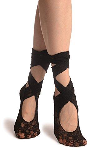 Black Stretch Lace Ballet Pointe Footies - Footsies Socks