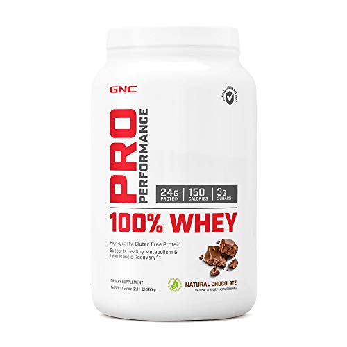 GNC Pro Performance 100 Whey, Natural Chocolate, 25 Servings, Supports Healthy Metabolism and Lean Muscle Recovery