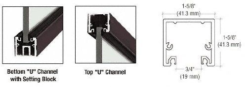 Black Bronze Anodized 120'' ''U'' Channel with Roll-In Top Load Gasket by CR Laurence