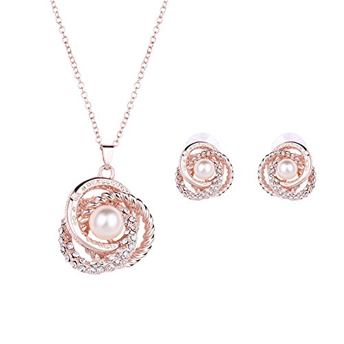 KAVANI Rose Gold Plated Elegant Pearl Pendant Necklace Earrings Set Jewelry Set for Women