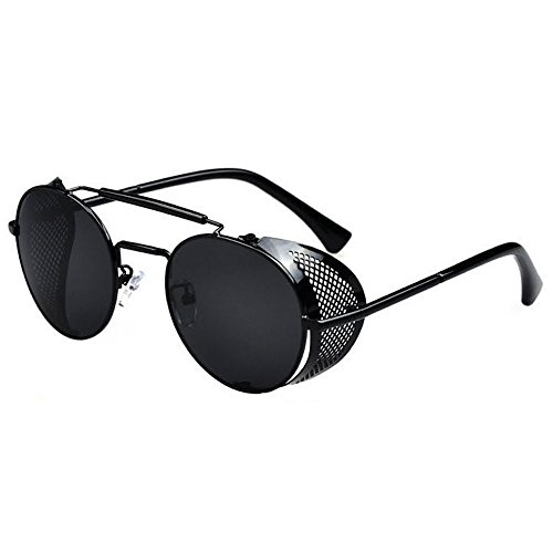 Vintage/Retro Sunglasses Black/Black Round Frame Metal Side Shield + - Men Sunglasses Shield