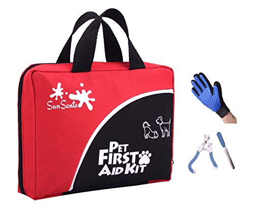 Pet First Aid Kit for Dogs & Cats + Bonus Grooming Glove & Pet Dog Nail Clippers and Trimmer | 85 Piece First Aid Kit | Compact for Travel, Camping, Hiking, Car, Backpacking, Home, workplace, Survival
