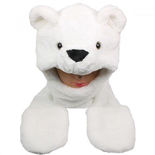 Puggles In Costumes (Polar Bear_(US Seller)New Plush Cartoon Hat Long Warm Full Hoodie Hat)