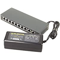 DSLRKIT 250M 10 Ports 8 PoE Switch Injector Power Over Ethernet with 52V 2.7A Power Adapter