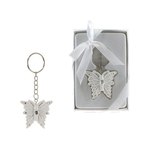 Crystal Butterfly Keychain Favors (Lunaura Party Keepsake - Set of 12 Butterfly with Crystal Key Chain Favors - White)