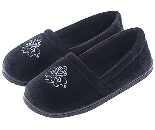 Women's Velvet Memory Foam Closed Back Slippers Lightweight Anti-Slid Embroidery Ballerina house/office Shoes (L /9-10 B(M) US, Black)