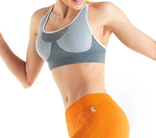 Lupo Women's Full Support Comfort Racer Y Back Sports Bra, Medium Gray