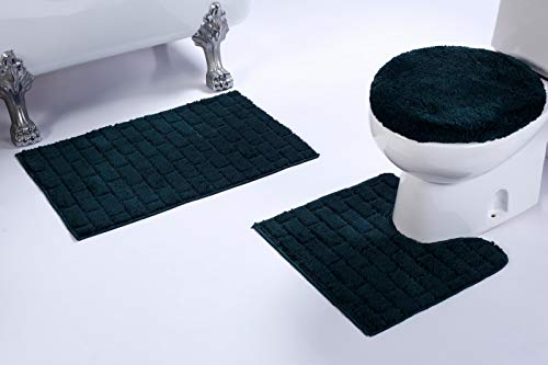 (Fancy Linen 3pc Non-Slip Bath Mat Set with Brick Pattern Solid Hunter Green Bathroom U-Shaped Contour Rug, Mat and Toilet Lid Cover New # Bath)