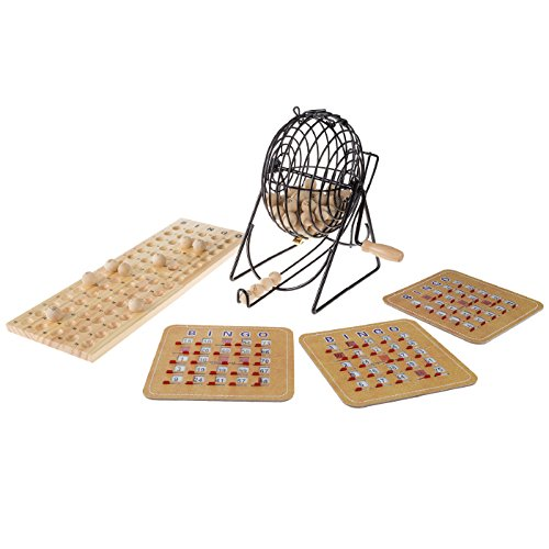 Professional Wooden Bingo Game Set - Includes 75 solid wood balls, solid wood master board, & 8 shutter cards ()