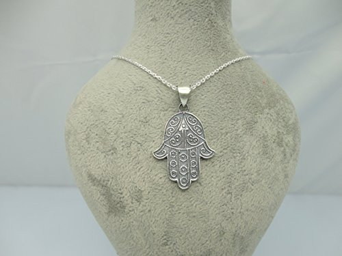 "Fatima Hamsa Hand Sterling Silver Necklace with 15.9"" to 18.1"" Adjustable Chain by Handmade Studio"