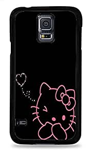 Trendy Accessories Cute Pink Hello Kitty with Diamond Heart Pattern Design Print Cover Black Silicone Case for Samsung Galaxy S5