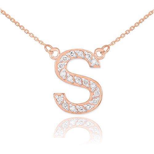 """Petits Merveilles D'amour - 14 ct Or Rose 585/1000 lettre initiale Collier initiale """"S"""" Diamants"""